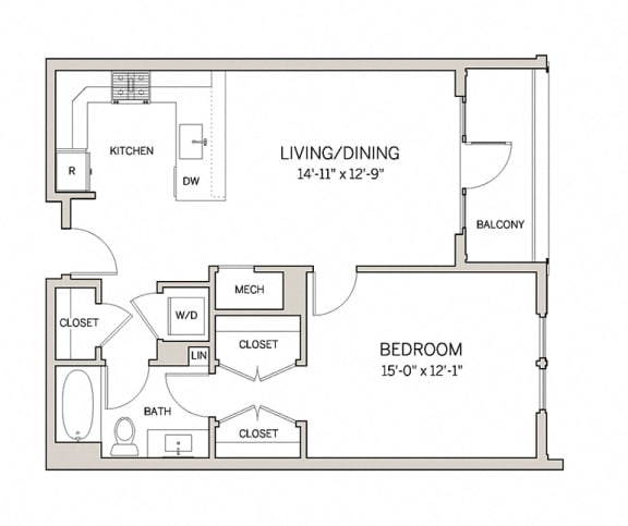 Floor Plan  1 Bed 1 Bath A5 at AVE King of Prussia, Pennsylvania, 19406