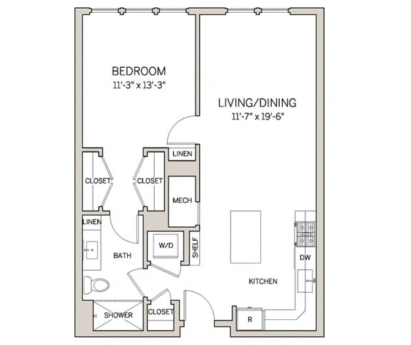 Floor Plan  1 Bed 1 Bath A6 at AVE King of Prussia, King of Prussia, PA, 19406