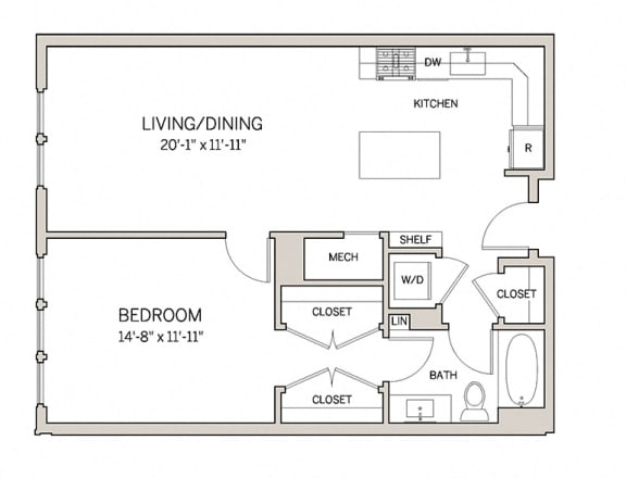 Floor Plan  1 Bed 1 Bath A8 at AVE King of Prussia, King of Prussia, PA