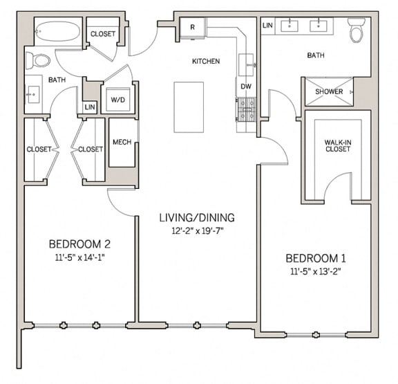 Floor Plan  Two Bed Two Bath B10 at AVE King of Prussia, King of Prussia, Pennsylvania