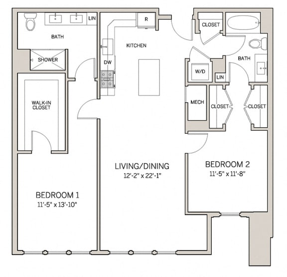 Floor Plan  Two Bed Two Bath B12 at AVE King of Prussia, King of Prussia, 19406