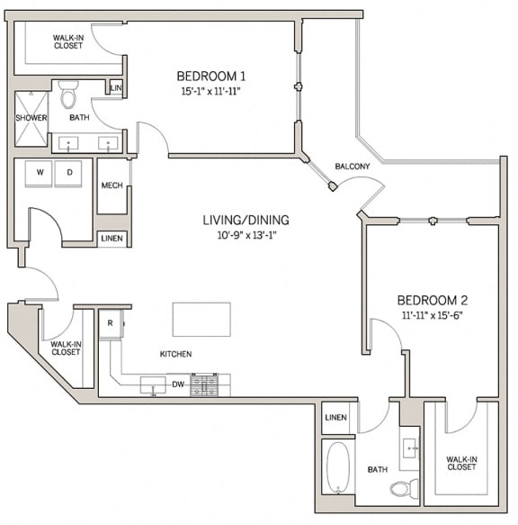 Floor Plan  Two Bed Two Bath B17 at AVE King of Prussia, King of Prussia, Pennsylvania