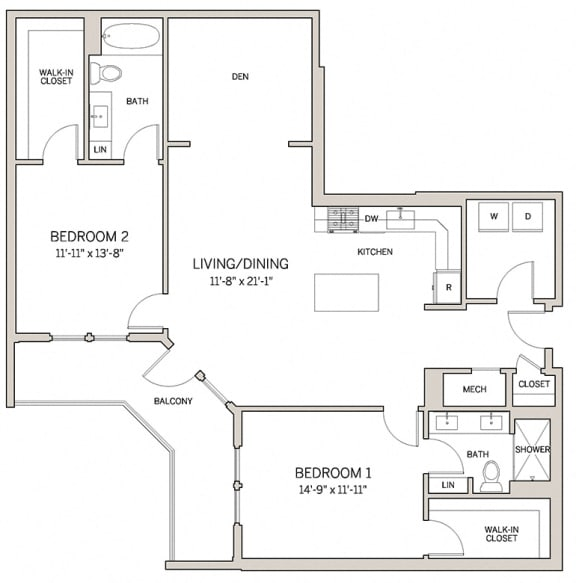 Floor Plan  Two Bed Two Bath B21d at AVE King of Prussia, King of Prussia, Pennsylvania