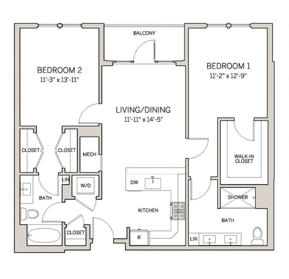 Floor Plan  Two Bed Two Bath B3 at AVE King of Prussia, King of Prussia, Pennsylvania