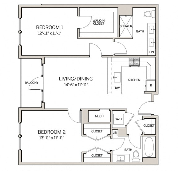 Floor Plan  Two Bed Two Bath B5 at AVE King of Prussia, King of Prussia, PA