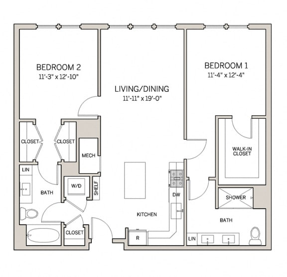 Floor Plan  Two Bed Two Bath B7 at AVE King of Prussia, King of Prussia, PA, 19406