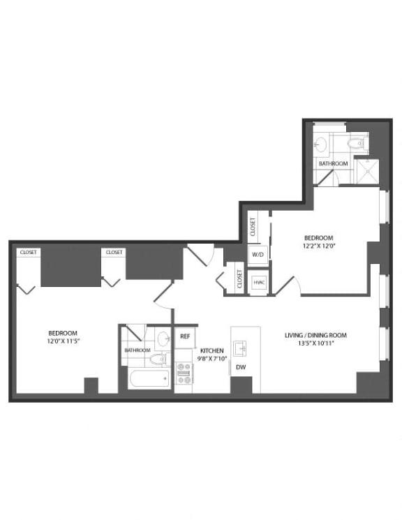 Floor Plan  Floor plan at The Republic, Philadelphia, PA 19103