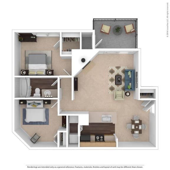Floor Plan  The Haywood Floor Plan at Beacon Ridge Apartments, Greenville, South Carolina