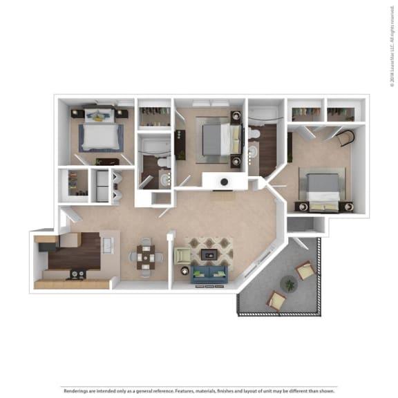 Floor Plan  The Kingston Floor Plan at Beacon Ridge Apartments, South Carolina