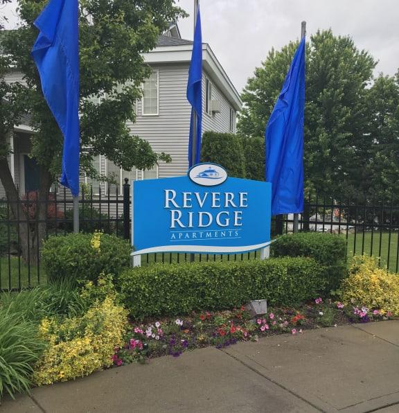 revere ridge apartments exterior and sign