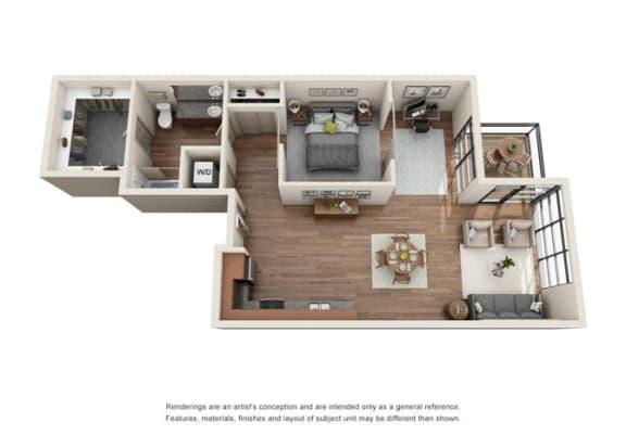 Floor Plan  1 Bed 1 Bath Den Floor plan at Equinox, Seattle, WA, 98102