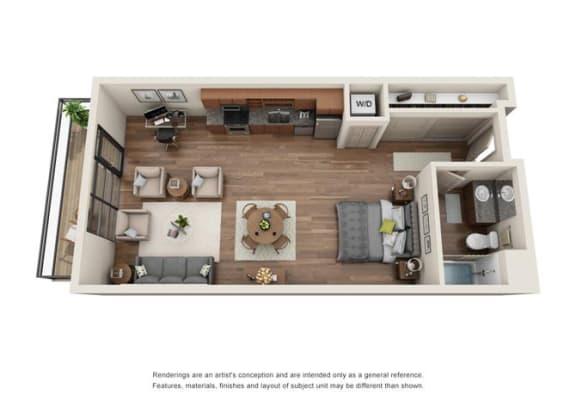 Floor Plan  Studio Floor plan at Equinox, Seattle, 98102