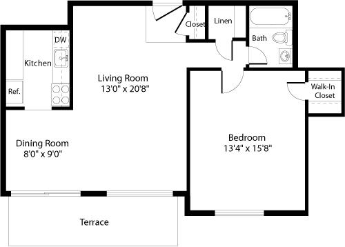 Floor Plan  A4a Floor Plan at The Fields of Arlington, Arlington, Virginia