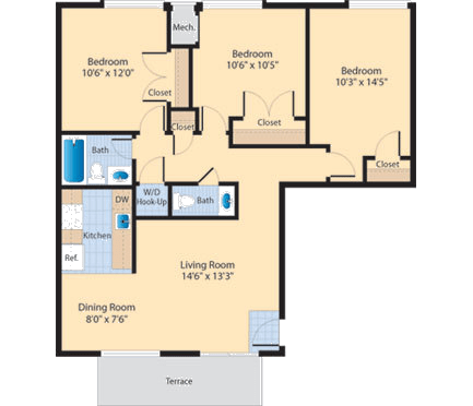 Floor Plan  C2 Floor Plan at The Fields of Alexandria, Virginia, 22304