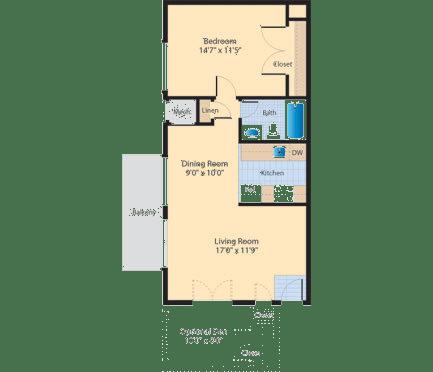 Floor Plan  A2 Floor Plan at The Fields of Alexandria, Alexandria, 22304