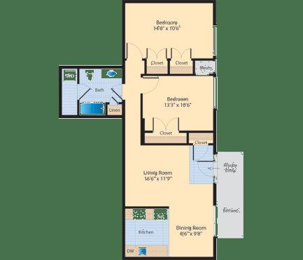 Floor Plan  B6 Floor Plan at The Fields of Alexandria, Virginia