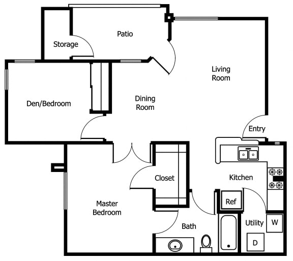 Floor Plan  Two Bedroom | Two Bathroom