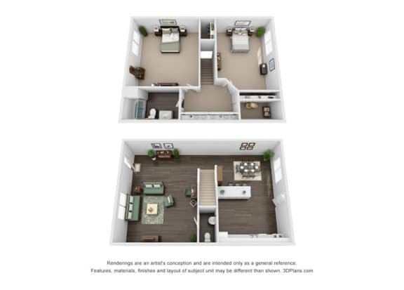 Floor Plan  2 Bed 1.5 Baths TH