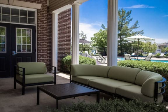 Open air seating at The Reserve at Williams Glen Apartments, IN, 46077
