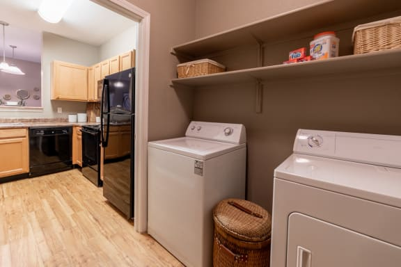 In home washer and dryer at The Reserve at Williams Glen Apartments, Zionsville, Indiana