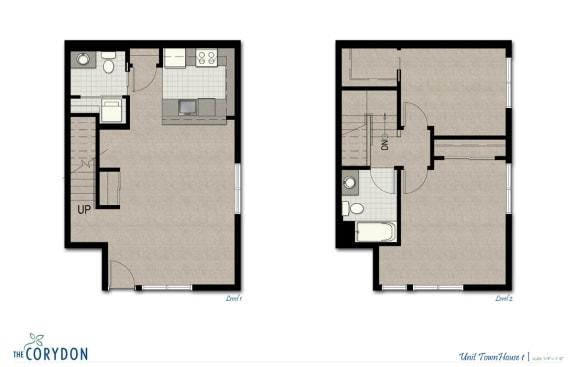 Floor Plan  Townhome TH1 FloorPlan at The Corydon, Washington, 98105