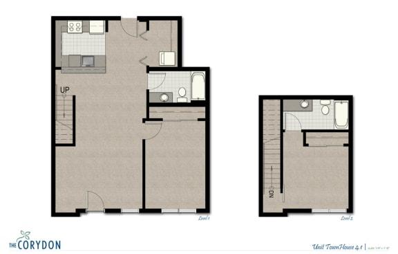 Floor Plan  Townhome TH4 1 FloorPlan at The Corydon, Washington