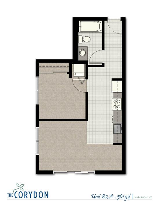 Floor Plan  One Bedroom B2 A FloorPlan at The Corydon, Seattle, WA, 98105