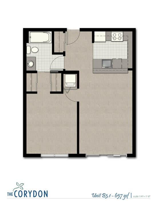 Floor Plan  One Bedroom B3 1 FloorPlan at The Corydon, Washington, 98105