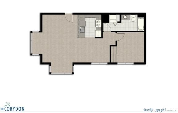 Floor Plan  One Bedroom B5 FloorPlan at The Corydon, Seattle, Washington