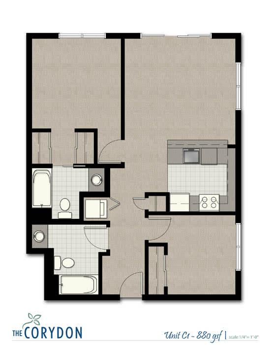Floor Plan  Two Bedroom C1 FloorPlan at The Corydon, Seattle, 98105