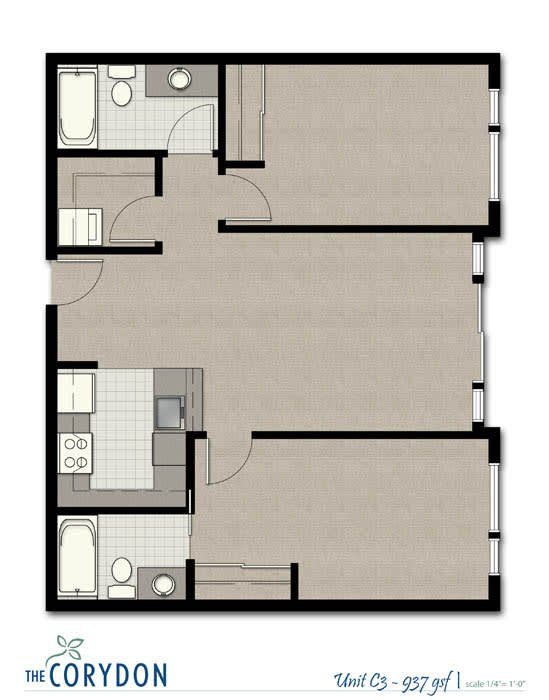 Floor Plan  Two Bedroom C3 FloorPlan at The Corydon, Washington, 98105