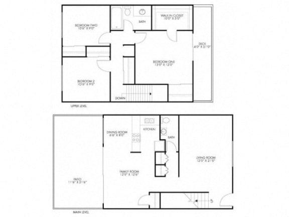Floor Plan  3 Bedroom 1.5 Bath Floor Plan at Monterey Townhouse, Monterey, CA
