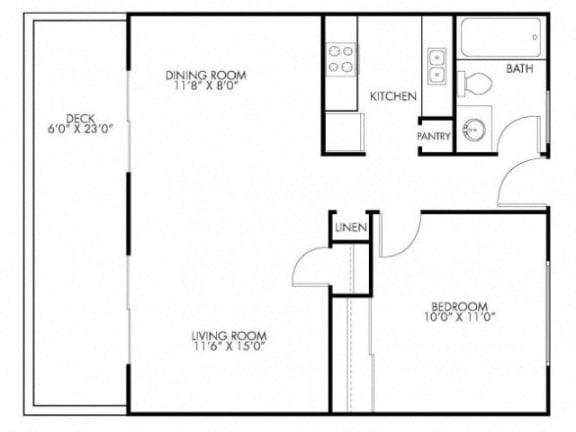 Floor Plan  1 Bedroom 1 Bath Floor Plan at Monterey Townhouse, Monterey