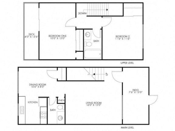 Floor Plan  2 Bedroom 1.5 Bath at Monterey Townhouse, Monterey, CA, 93940