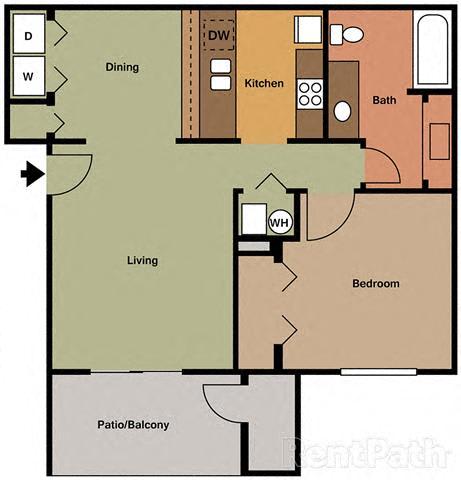 Spacious 1 Bedroom, 1 Bath Floor Plan at Creekside Square, Indiana, 46254