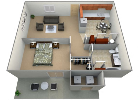Floor Plan  Jillingham Floor Plan at Oxford Park Apartments, Fresno, 93720