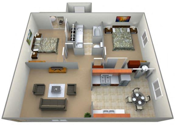 Floor Plan  Newbury Floor Plan at Oxford Park Apartments, Fresno, California