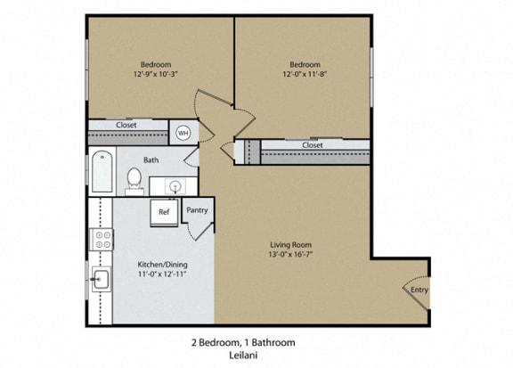 Floor Plan  Leilani Floor Plan at Reef Apartments, Fresno, CA, 93704