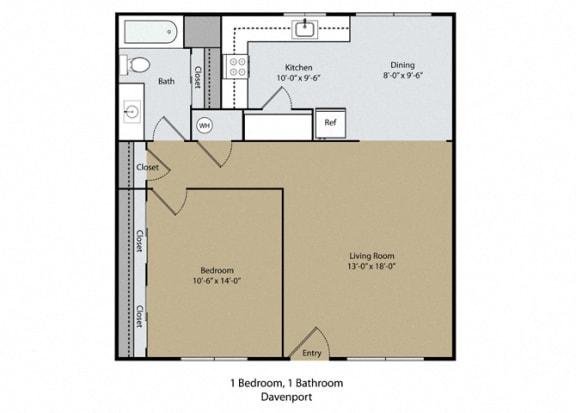 Floor Plan  Davenport Floor Plan at Scottsmen Apartments, Clovis, California