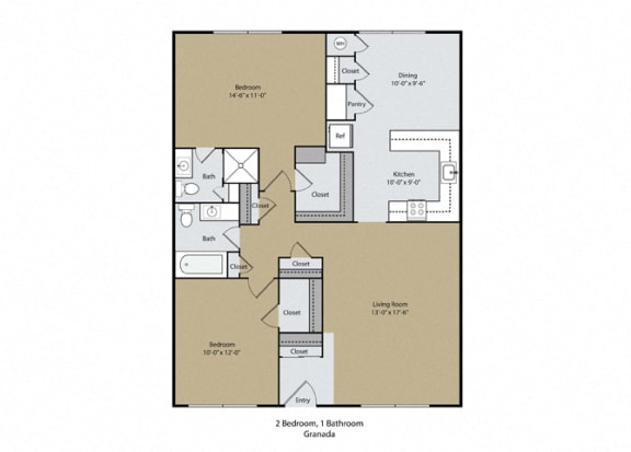 Floor Plan  Granada Floor Plan at Scottsmen Apartments, Clovis