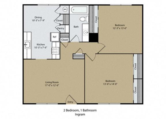 Floor Plan  Ingram Floor Plan at Scottsmen Apartments, California, 93612