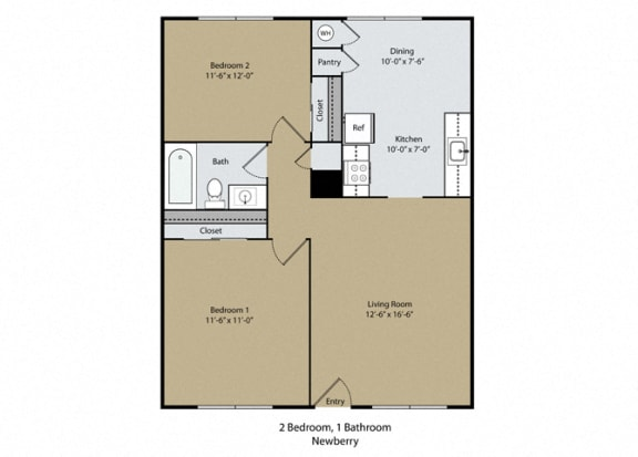 Floor Plan  Newberry Floor Plan at Scottsmen Apartments, Clovis, CA, 93612