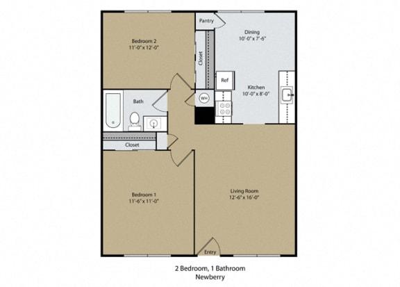 Floor Plan  Newberry Floor Plan at Scottsmen Too Apartments, Clovis