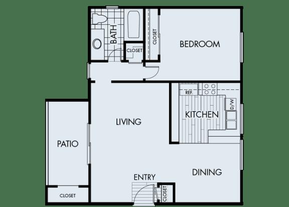 Floor Plan  1 Bed 1 Bath 1A Floor Plan at Corte Bella, Fountain Valley, California