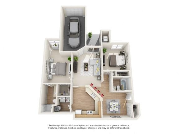 Floor Plan  Cypress  2 bed 2 bath Floor Plan at Owings Park Apartments, Owings Mills