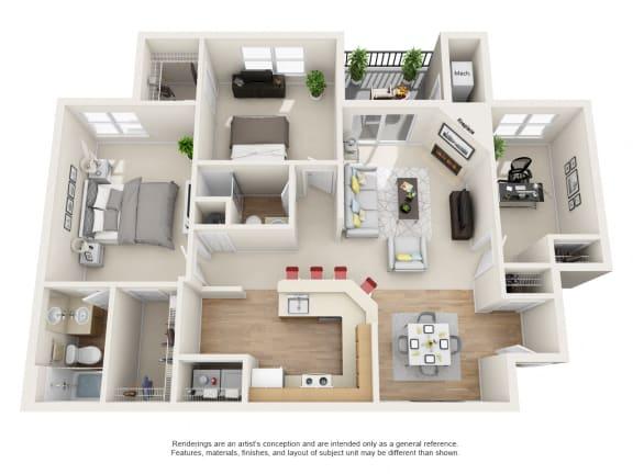 Floor Plan  Laurel 3 bed 2 bath Floor Plan at Owings Park Apartments, Maryland, 21117