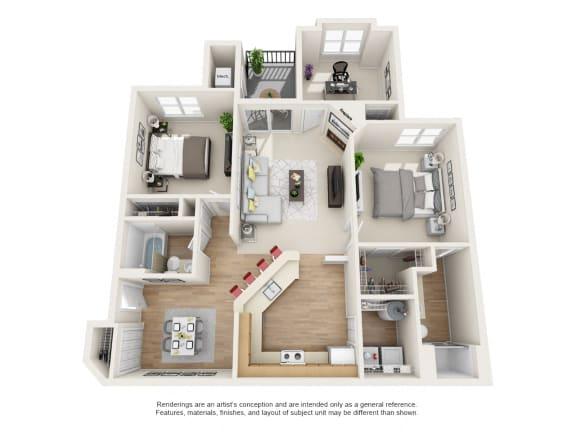 Floor Plan  Maple 3 bed 2 bath Floor Plan at Owings Park Apartments, Maryland