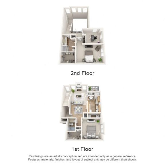 Floor Plan  Oak 3 bed 2 bath Floor Plan at Owings Park Apartments, Owings Mills, MD