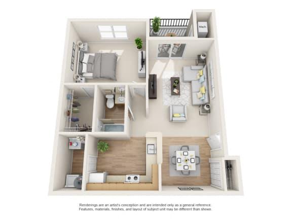 Floor Plan  Sycamore Floor Plan 1 bed 1 bath Floor Plan at Owings Park Apartments, Owings Mills, MD