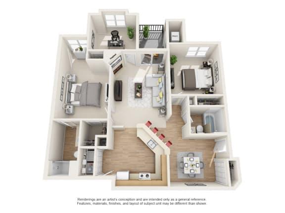 Floor Plan  Willow 3 bed 2 bath Floor Plan at Owings Park Apartments, Owings Mills, MD, 21117